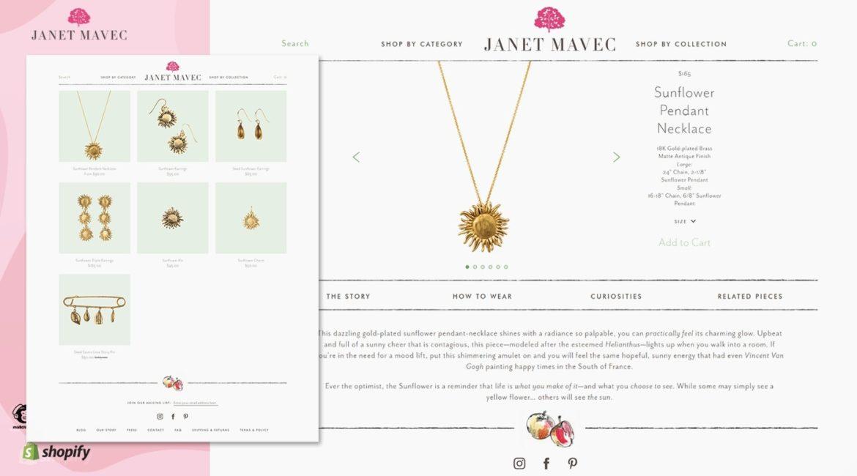 Shopify Website Structure & Sunflower Necklace Product Description Copy